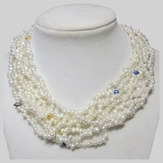 Eight Strand Cultured Pearls Necklace Color Accents