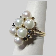 14K Gold Cultured Pearl Ring With Sapphires Size 7