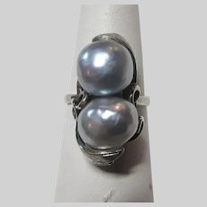 Blue Silver Cultured Pearls Sterling Ring Size 6.75