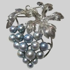Old Japan Blue Cultured Pearls Grapes Design Pin or Pendant
