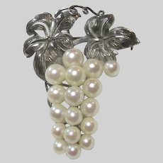 Old Cultured Pearls Grape Cluster Design Pin
