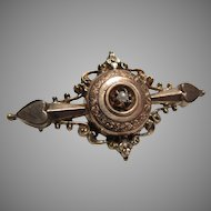 Victorian Gold Pin Seed Pearl Watch Locket Holder