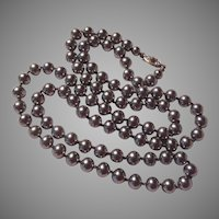 Silver Pearls Long Rope Necklace Costume Jewelry