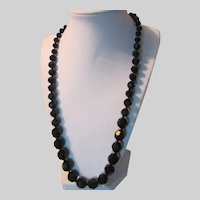 Black Faceted Glass Graduated  Beads Necklace