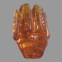 Old Carved Golden Amber Butterscotch Color Bakelite Dress Clip Brooch