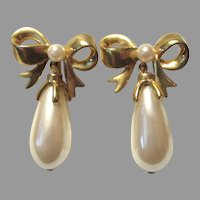 Gold Tone Metal Bow Clip Earrings Faux Pearl Drop