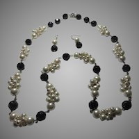 Very Long Black With Faux Pearls Necklace Earring Set