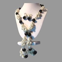 White Faux Pearls With Black Facet Beads Necklace Earrings Set