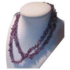 Purple Amethyst Rocks Chips Beads Long Necklace