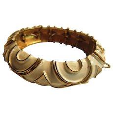 Gold Tone Metal Bracelet White Enamel