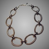 Silver Tone Metal Large Links Necklace