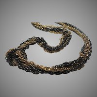 Trifari Gold and Pewter Tone Metal Chains Necklace