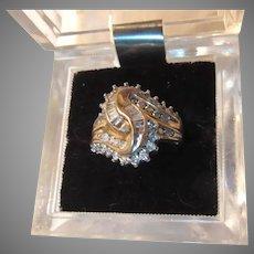 10K Gold & Diamonds Cocktail Dinner Ring