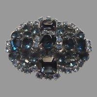 Two Tone Blue Rhinestones Brooch