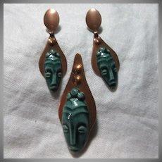 Copper & Green Ceramic Alien Faces Pin & Earring Set