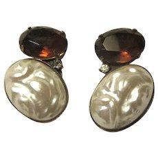 Clip Earrings Huge Faux Baroque Pearl Golden Topaz Glass Stone
