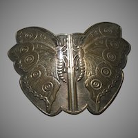 Old Gold Tone Metal Butterfly Buckle or Sash Trim