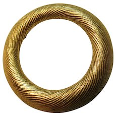 Trifari Brushed Gold Tone Circle Pin