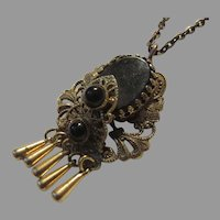 Black & Gold Metal Pendant Necklace