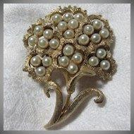 Coro Flower Pin Faux Pearl Blooms
