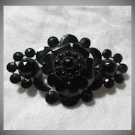 Antique Black Flower Pin Brooch Victorian Era Fine Jewelry
