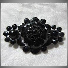 Antique Black Flower Pin Brooch Victorian Era Fine Jewelry
