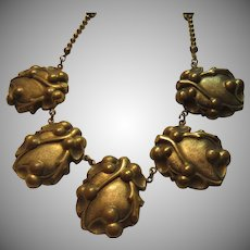Old Brass or Brass Tone Beads Necklace With Five Ornate Pendants