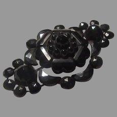 Victorian Black Flower Brooch Pin