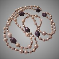Coro Old Simulated White Pearls And Blue Beads Long Rope