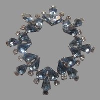 Weiss Large Blue Rhinestone brooch Signed Costume Jewelry