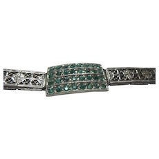 Old Signed Silver Filigree Rhinestone Green Stones Sweater Guard