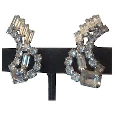 Rhinestone Curved Clip On Earrings