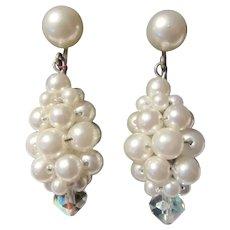 Clip Earrings Faux Pearls Cluster Dangles