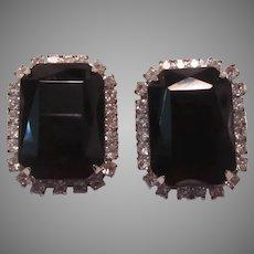 Elegant Black And Rhinestone Clip Earrings