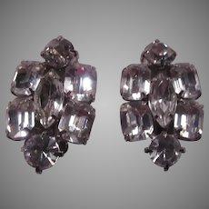 Brilliant Rhinestone Clip Earrings Big Stones