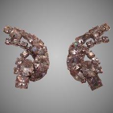 Rhinestone Clip Earrings Curved Design
