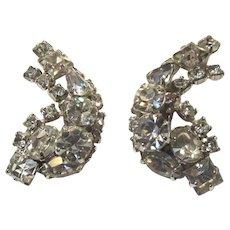 Fancy Rhinestone Clip Earrings