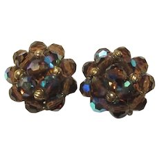 Violet Iridescent Crystals Clip Earrings