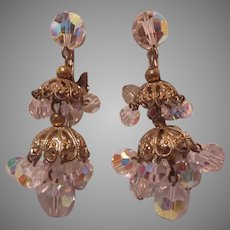 Crystal Dangles Clip Earrings