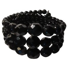 Black Faceted  Glass Beads Wired Bracelet