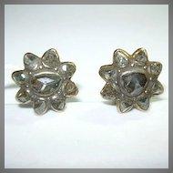 18K Gold Rose Cut Diamond Pierced Earrings