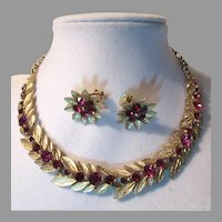 Lisner Necklace & Earring Set Hot Pink Rhinestones
