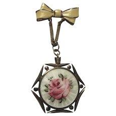 Fine Enamel Locket On Pin PInk Roses