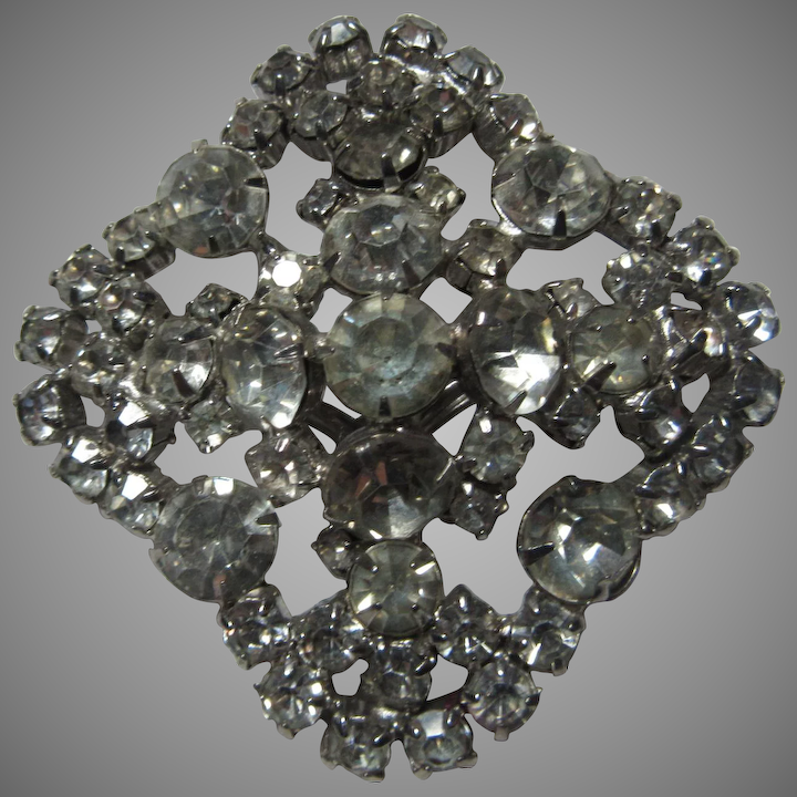 ad3f56aec Square Vintage Rhinestone Brooch Pin : Antiques Jewelry & Sacred Treasures  | Ruby Lane