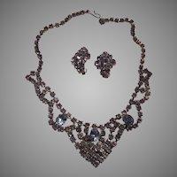 Blue Rhinestones Necklace Clip Earrings Set