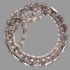 Unusual Large Rhinestone Brooch Pin Circle With Bow