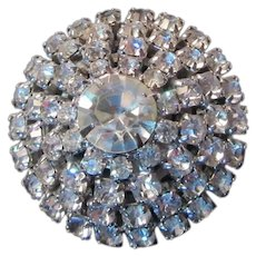 Weiss Signed Rhinestone Dome Pin Brooch