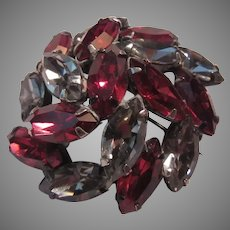 Ruby Red & Rhinestone Brooch Pin