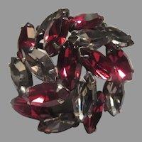 Ruby Red & Smoky Rhinestones Brooch Pin