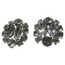 Rhinestone Clip Earrings Large Stones